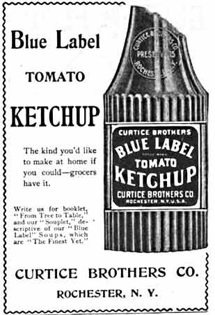 Blue Label  Tomato Ketchup advertisement from 1898
