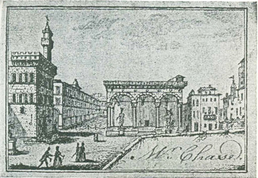 A visiting card, circa 1770-80, showing the Piazza Signoria, Florence. (Actual size)